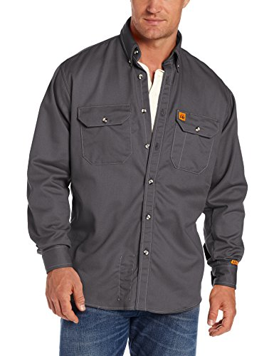 Product Image of the Wrangler Riggs Workwear Men's FR Flame Resistant Long Sleeve Two Pocket Work Shirt, Slate Grey, Large