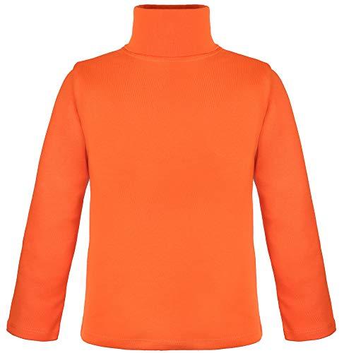 Lovetti Girls' Basic Long Sleeve Turtleneck 100% Cotton T-Shirt 5 Orange