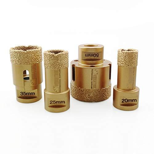 SHDIATOOL Broca de Diamante 4 Piezas/Juego Diámetro 20/25/35/50MM Sierra de Agujero para Perforación en Seco Porcelana Azulejo Granito Mármol M14