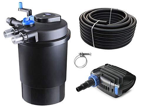 AquaOne Teich Filteranlage Set Nr.25 CPF 30000 Druckfilter 100W Eco Teichpumpe Teichgröße bis 60000l Teichschlauch Bachlauf UV Lampe