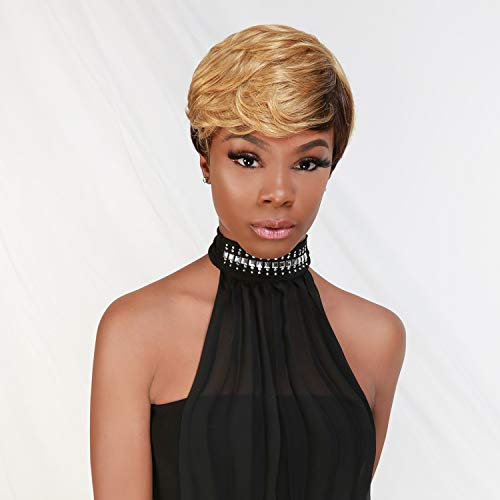 Instant Fab Short Human Hair Wigs Pixie Cut Wigs with Feathered Side Bangs for Black Women Short Cut Pixie Hairstyles Wig Tapered Back Non Lace Front Wigs - Pearl (DL4/27)