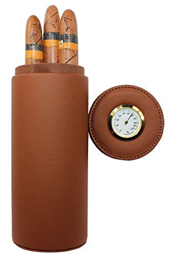 AMANCY® Exquisite Portable Brown Leather Travel Cedar Wood Lined 5 Cigar Humidor Case with Humidifier