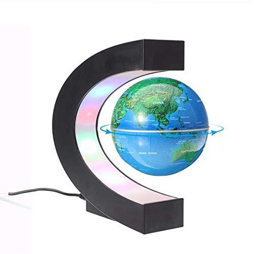 DIY Fertigkeit-Charme Kindergeburtstags-Dekorationen Schwimmdock Magnetic Levitation Rotating Globe Weltkarte Kugel DIY Zubehör für Mädchen Teens Geschenke (Farbe : Blue)