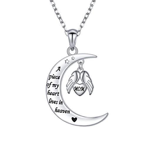 JZMSJF Collar conmemorativo de plata de ley 925 con texto en inglés 'Un pedazo de mi corazón vive en el cielo', collar conmemorativo para mamá pérdida de madre, regalo para...