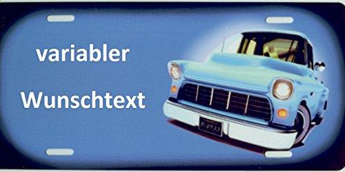 Namensschild US-Car (blau) selbst gestalten ✓ Witterungsbeständig ✓ Vielfarbig ✓ Ideale Geschenkidee | Individuelles Nummernschild, Aluminium-Schild | Autoschild mit Namen & Spruch selbst gestalten | Aluschild, Kfz-Kennzeichen-Schilder mit Wunschtext