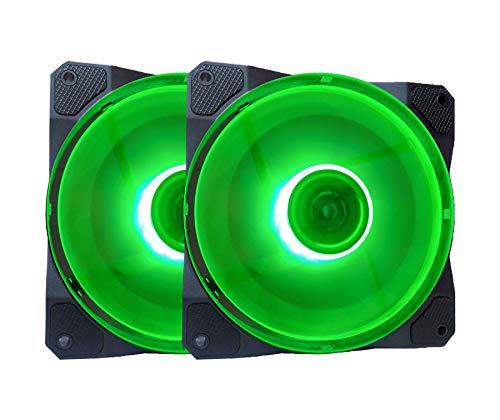APEVIA CO212L-GN Cosmos 120mm Green LED Ultra Silent Case Fan w  16 LEDs & Anti-Vibration Rubber Pads (2 Pk)
