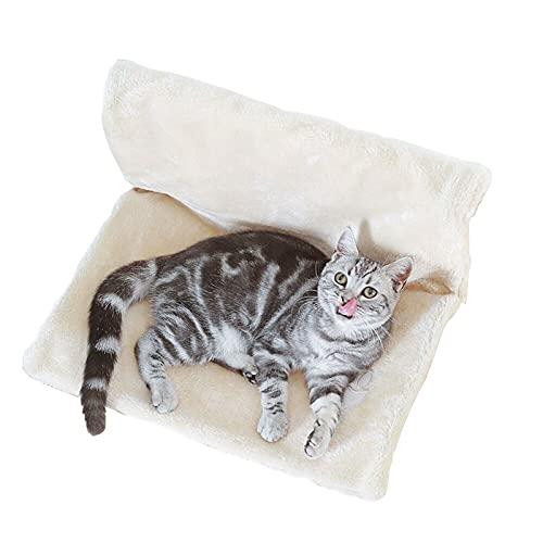 Shujin Cama para gatos con calefacción, hamaca, saco de dormir, acogedor, cama para gatos (beige)