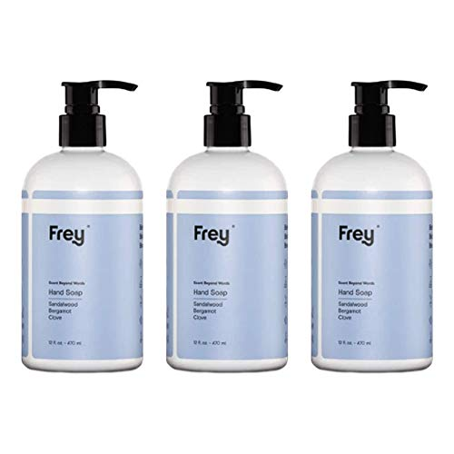 FREY Soft Liquid Hand Soap - Scented Hand Wash Made with Natural Ingredients, Moisturizing Hand Soap for Sensitive Skin, Handsoap with Enchanting Fragrance (Sandalwood Scent)(12-Ounce Bottles Pack of 3)