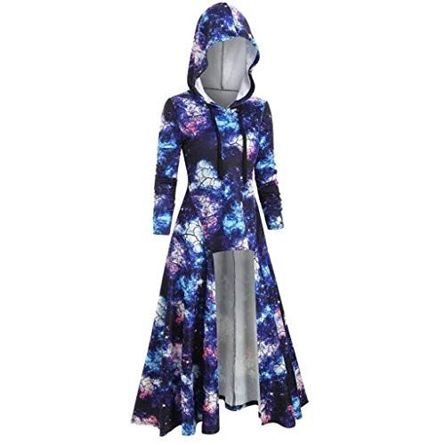 Aiserkly – Capa con capucha para mujer, blusa de manga larga, estampado en espiral, de alta calidad, para Halloween, cosplay, carnaval, disfraces, suéter azul L