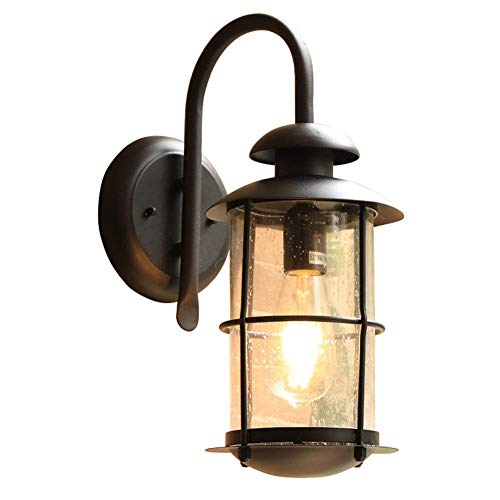 MKXF Lámpara de Pared, lámpara de Pared de Hierro Forjado, Pantalla de Vidrio, Aplique de iluminación LED Vintage para Pasillo, Villa, Patio, balcón, Impermeable