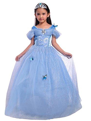 Lito Angels Disfraz de Princesa Cenicienta con Mariposa para Niña, Vestido de Fiesta de Cumpleaños, Talla 3 años, Azul