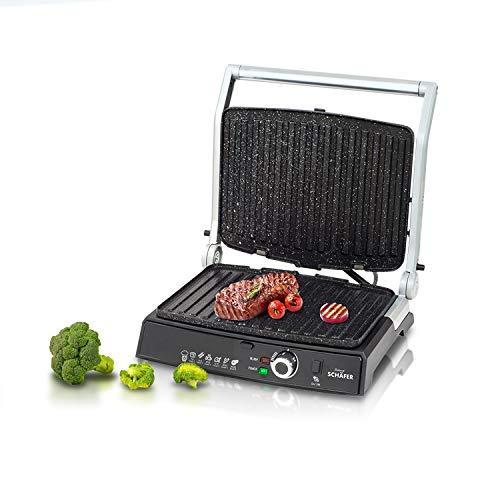 Toaster Kontaktgrill, Sandwich Maker - 2000 Watt - Silber- elektrischer Tischgrill Spülmaschinenfähige Platten - Cool-Touch -Technologie - Fettauffangschale