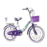 JYTFZD Yuchen- Bicicletas for niños Plegable Bicicleta Pink Bicycle Púrpura Bicicleta Escuela Niños Bicicleta Bicicleta Hogar 3~15 años Ejercicio Bicicleta (Color: Rosa, Tamaño: 20 Pulgadas)