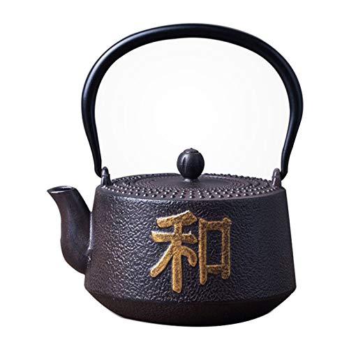 Tauzveok Tetera Hierro Fundido Japonés con patrón Chino para Hacer té y té de ebullición aplicable para Horno de microondas, Quemador, Estufa de Gas,Black Iron Kettle,1.25L