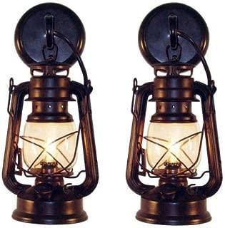 Lantern Wall Sconce Set of 2 Rusty Patina Finish