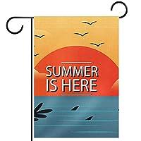 ウェルカムガーデンフラッグ(12x18in)両面垂直ヤード屋外装飾,熱帯の夏休み