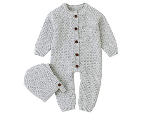 CHRONSTYLE Baby Neugeborenen Baumwolle Strickpullover mit Hut Langarm Strampler Outfits Herbst Winter Kleidung Set (z- Grau, 18-24 Monate)