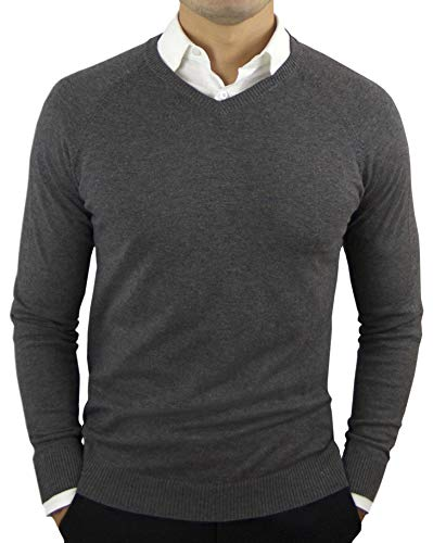 CC Perfect Slim Fit V Neck Sweaters for Men | Lightweight Breathable Mens Sweater | Soft Fitted V-Neck Pullover for Men Charcoal Gray