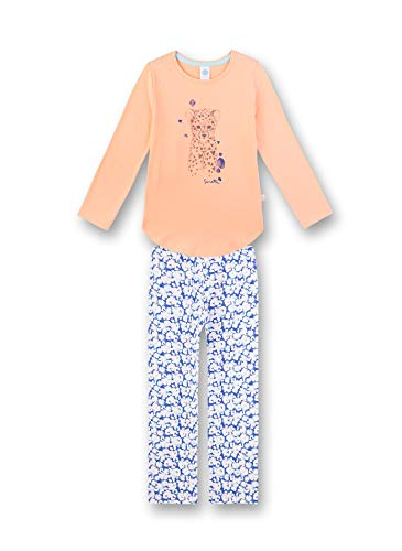 Sanetta Mädchen Pyjama lang Zweiteiliger Schlafanzug, Orange (orange 3996), (Herstellergröße:104)