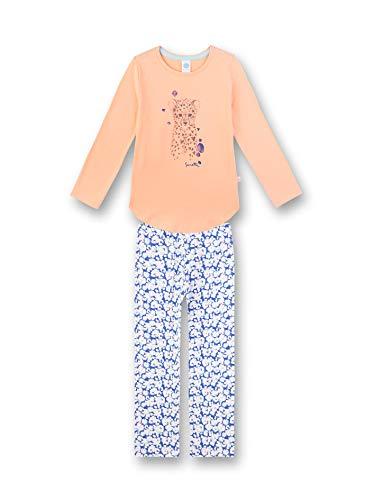 Sanetta Mädchen Pyjama lang Zweiteiliger Schlafanzug, Orange (orange 3996), (Herstellergröße:128)