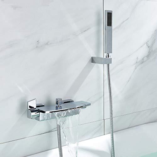 Badewannenarmatur Wasserfall Badewanne Wasserhahn Alle Kupfer Wand Wasserfall Dusche Heiße Und Kalte Badewanne Wasserhahn (Silber)