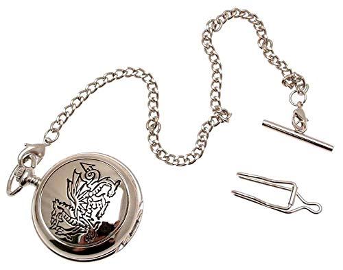 Doppel-Taschenuhr, mechanisch, graviert, walisischer Drache, Stil 17