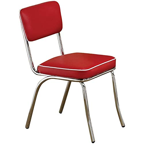 BOWERY HILL Dining Side Chair in Red and Chrome (Set of 2)