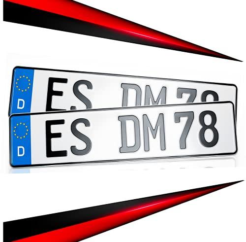 KFZ Schilder Direkt 2 Kennzeichen 520 x 110mm | Nummernschild | Autokennzeichen | mit Wunschprägung