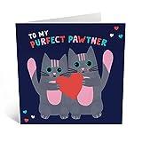 """Biglietto di auguri per anniversario di matrimonio con scritta """"To My Purfect Pawtner"""", con simpatici adesivi"""