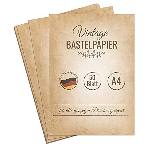 50 Blatt Vintage Briefpapier, DIN A4, beidseitig bedruckt, extra starkes 120g Papier für Urkunden, Einladungen, Geburtstag, Hochzeit, antikes Bastelpapier, Retro Papier