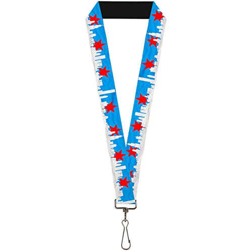 Buckle-Down Lanyard - Chicago Skyline/Flag Distressed Black/White/Red