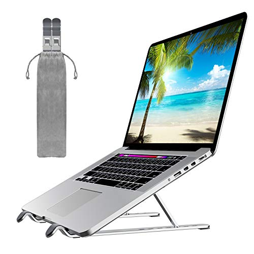 Portable Laptop Stand, OlYone Adjustable Laptop Holder Riser Computer Stand Aluminum Ventilated Cooling Notebook Stand Compatible with MacBook Air Pro/ Dell/ iPad/ HP More Laptops - Silver