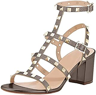 Comfity Leather Sandals for Women,Rivets Studded Strappy Block Heels Slingback Gladiator Shoes Cut Out Dress Sandals
