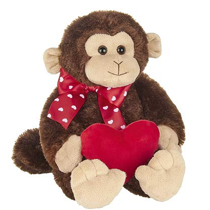 Bearington Wilde Love Plush Monkey Stuffed Animal Holding Heart 15 Inch