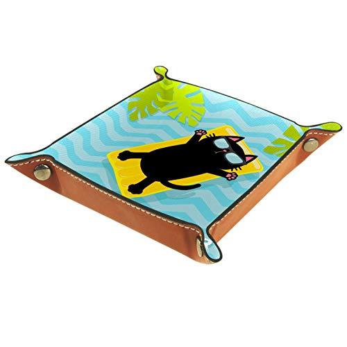 YATELI Petite boîte de Rangement, Plateau de Valet pour Homme,Matelas d'eau de Piscine Feuilles de Palmier,Organisateur de fourre-Tout en Cuir pour Bijoux à clés