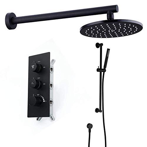 ShiSyan Ducha de Mano Oculta la Ducha termostática Jefe Negro Lluvia Sistema Grifo de fácil instalación (Color: Negro)