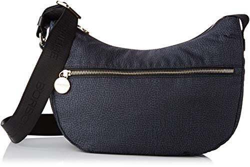 Borbonese Luna Bag Small, Borsa a Tracolla Donna, Nero (Nero), 28x24x11 cm (W x H x L)