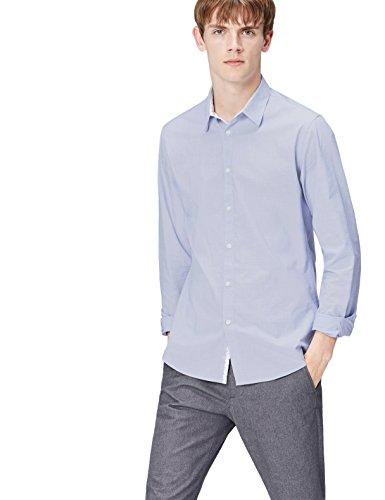 FIND Camisa Clásica Ajustada para Hombre, Azul (Blue), Large
