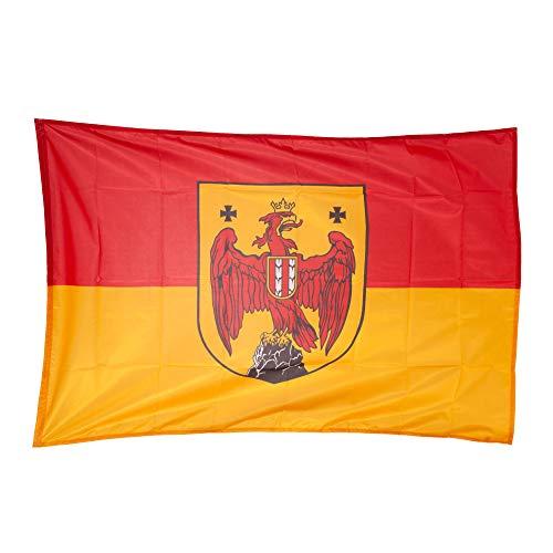 Fahnen Kössinger, Hissflagge im Querformat, Fahne Bundesland Burgenland, Hissfahne mit Wappen, hochwertiger Siebdruck, Brillante Farben, rot-Gold, reißfest, 120 x 80 cm, 0,96 m² Fläche