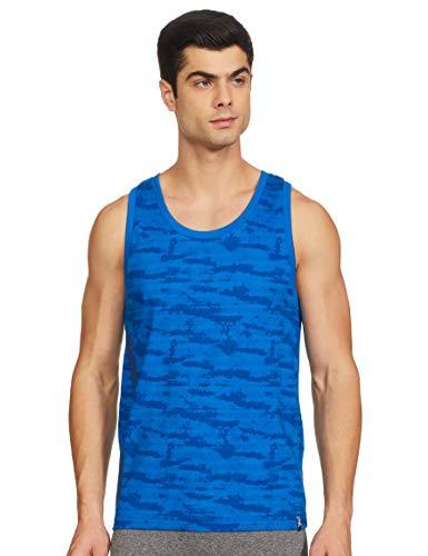 Jockey Men's Printed Regular fit Vest (9928_Neon Blue Print M)