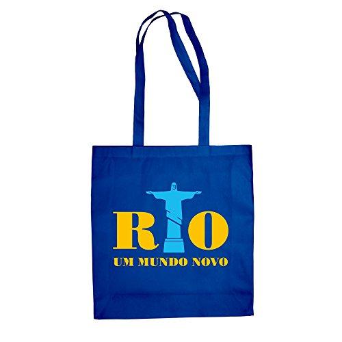 Jutebeutel - Rio - Um mundo novo - a new world - von SHIRT DEPARTMENT, royalblau-gelb