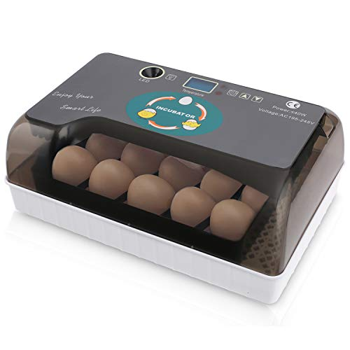 Egg Incubator, 9-35 Eggs Fully Automatic Poultry Hatcher Machine with Led Candler and Auto Turning, Small Digital Incubators Breeder for Hatching Chicken Duck Goose Quail Birds Turkey
