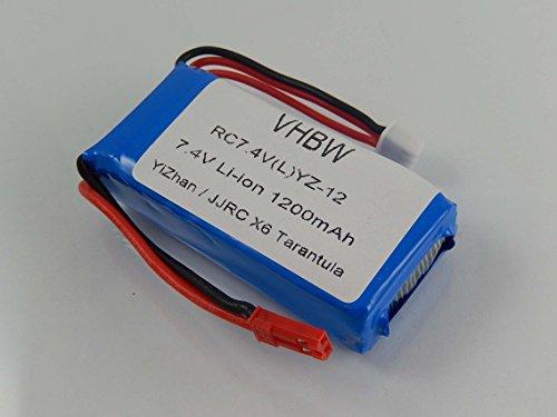 vhbw Batería Li-Ion 1200mAh (7.4V) dron, multicóptero, quadricóptero UDI U818A YiZhan / JJRC X6 Tarantula