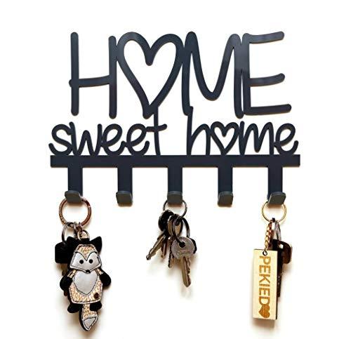 Appendichiavi da Muro Home Sweet Home 100% Made in Italy Portachiavi da muro ingresso moderno Decorazioni casa facili da montare (Nero)