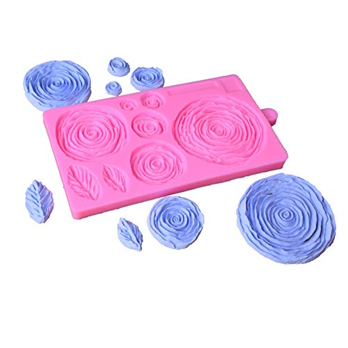 8 Large Flowers Rose Leaves Cake Edge Lace Silicone Mold Diy Fondant Decorative Baking Tools 3d Silicone Molds Candy Decoration
