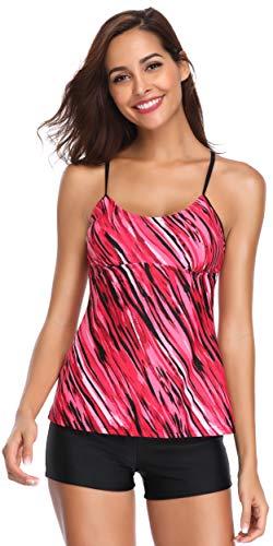 SHEKINI Costumi da Bagno Donna Due Pezzi Stripe Stampati Tankini Top con Pantaloncini Fondo Bikini Elegante Regolabile Sportivi Halter Costumi Donna Mare Bikini Imbottito (XXL, Rose Red)