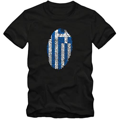 Herren T-Shirt Greece Griechenland Hellas Basketball Fußball Trikot Fingerabdruck WM EM, Farbe:schwarz, Größe:S