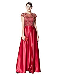 Wine Red A-Line Lace O-Neck Cap Sleeve Dress