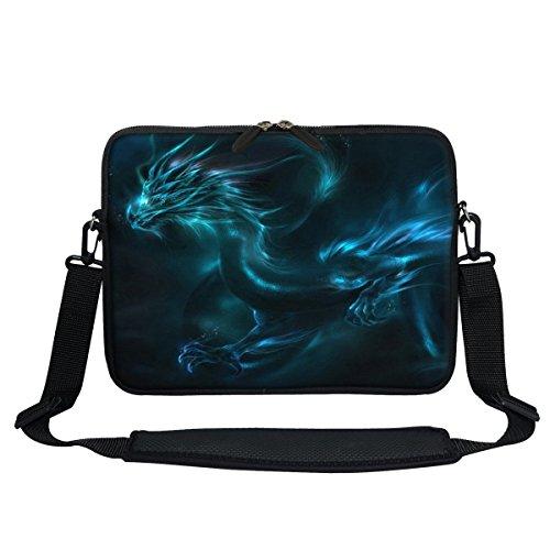 Meffort Inc 11.6 Inch Neoprene Laptop/Ultrabook/Chromebook Bag Carrying Sleeve with Hidden Handle and Adjustable Shoulder Strap (Blue Dragon)