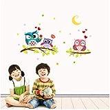 TTBH Children's Creative Modern 3D Cartoon Owl Wallpaper Wall Sticker Wall Sticker For Kids RoomsWallstickers